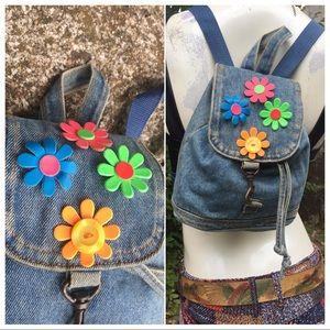 VTG 90's Denim Flower Power Mini Kawaii Backpack